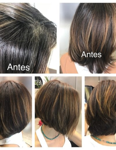 arreglo de color mas mechas marrón cobrizo