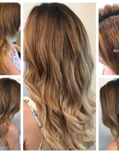 Arreglo de color y mechas degradadas
